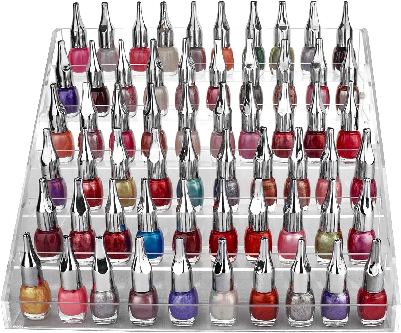 Organizador de u/ñas de metal de 3 niveles con 30 botellas de esmalte de u/ñas