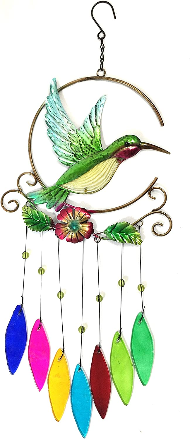 Bejeweled Display Unique Beautiful Hummingbird w/ Stained Glass Wind Chimes