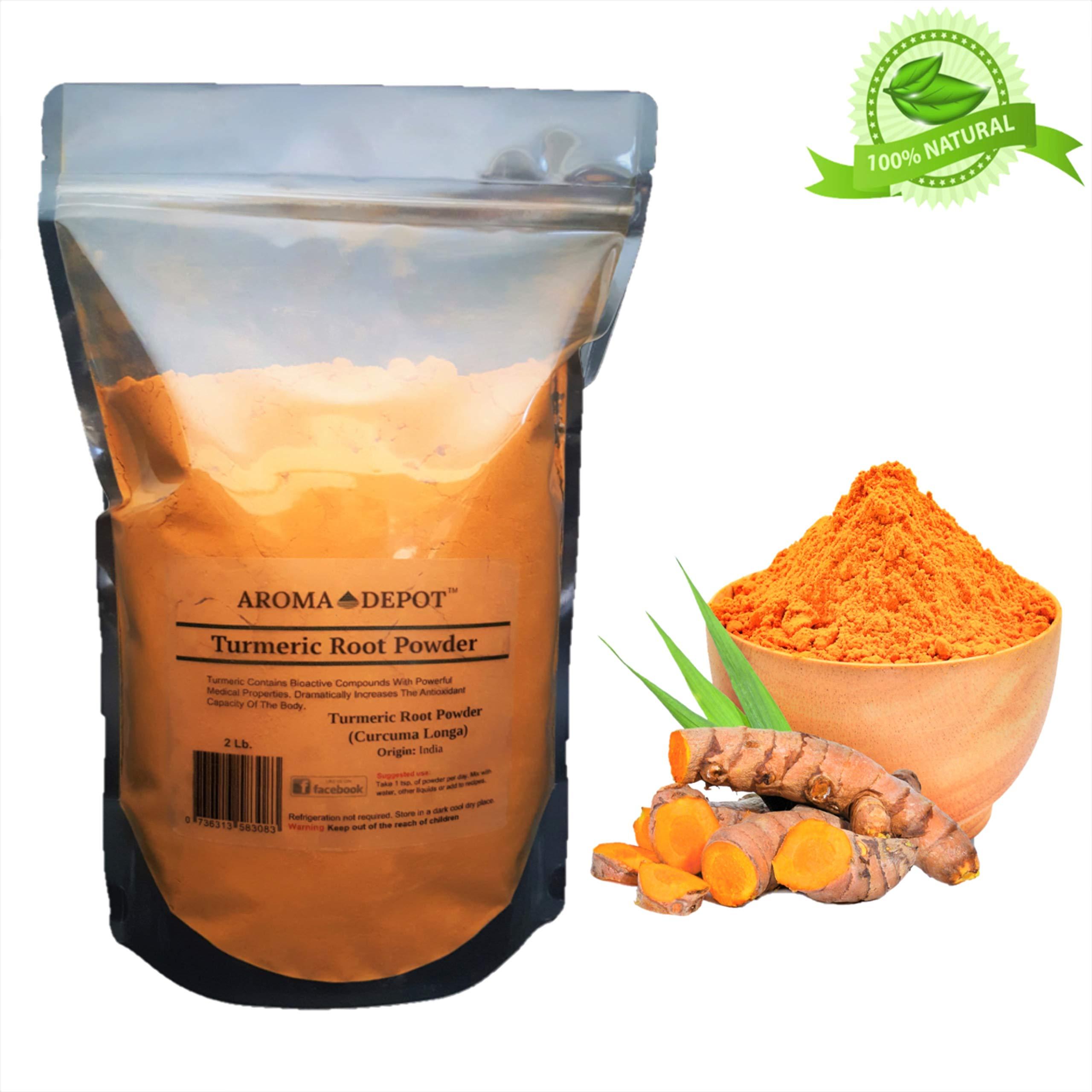 Aroma Depot 2lb/ 32 oz Organic Turmeric Ground Tumeric Root Powder 100% Pure (Curcuma Longa) Curcumin Powder Raw, Non-GMO & Gluten Free Antioxidants | Keto, Paleo, Vegan | Anti-Inflammatory From India