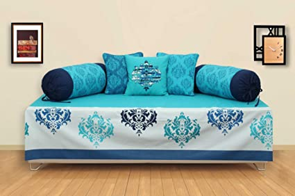 ELAN Cotton Ikat Theme based Divan Set. Divan Sheet with Two Bolster Covers and Three Cushion Covers. Divan Sheet Size: 140 x 230cm, Bolster Cover Size: 80 x 40cm, Cushion Cover Size: 40 x 40cm (Blue)