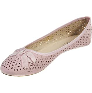 d7b8aa52f Sara Z Womens Laser Cut Perforated Slip On Ballet Flat with Bow