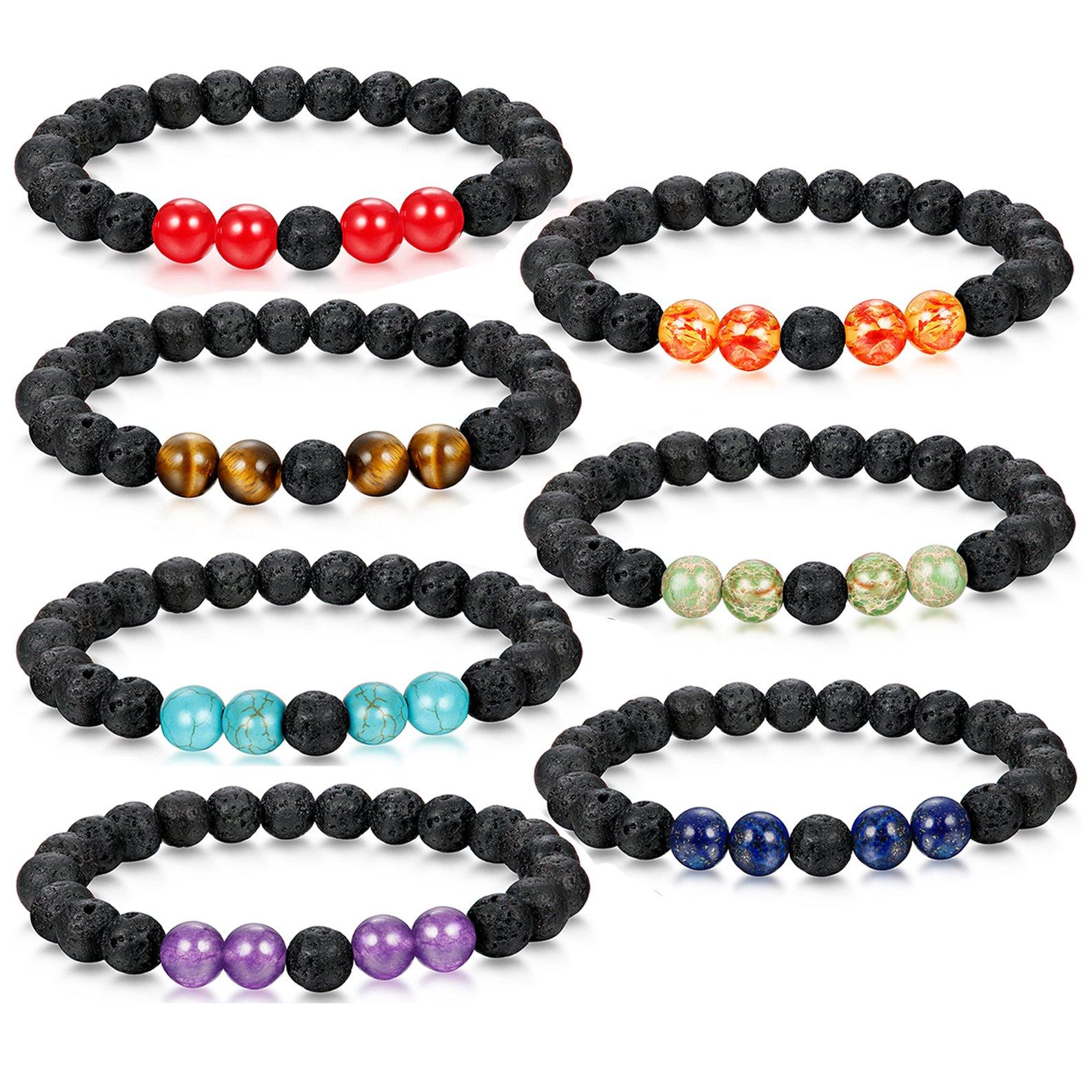 Adramata Aromatherapy Chakra Bracelets for Men Women Oil Diffuser Anxiety Bracelet Set