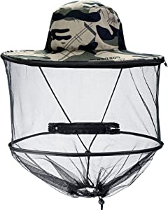 CozyCabin Mosquito Head Net Hat with Removable Mesh Hidden Netting, Camouflage Design for Outdoor Fishing Gardening Hiking Face Cover - Grey Camo