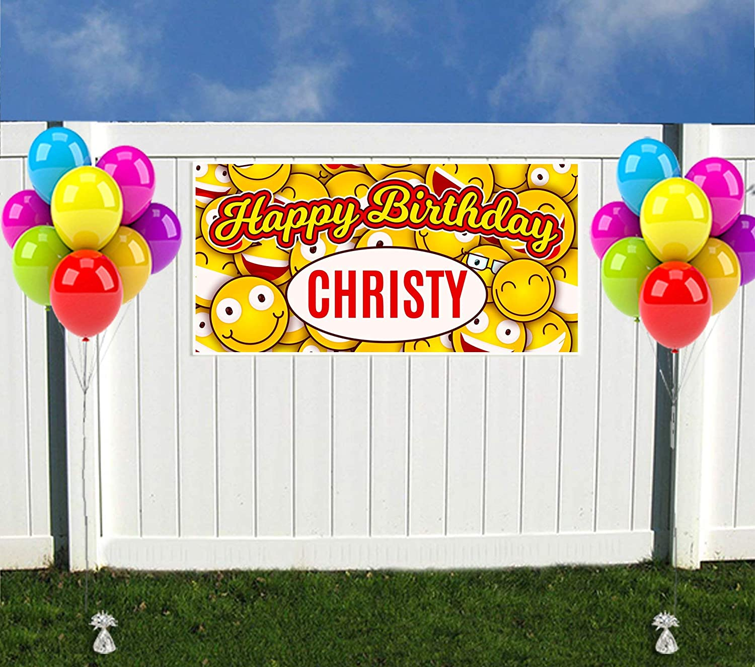 Emoji Birthday Banner Personalized Party Backdrop Decoration