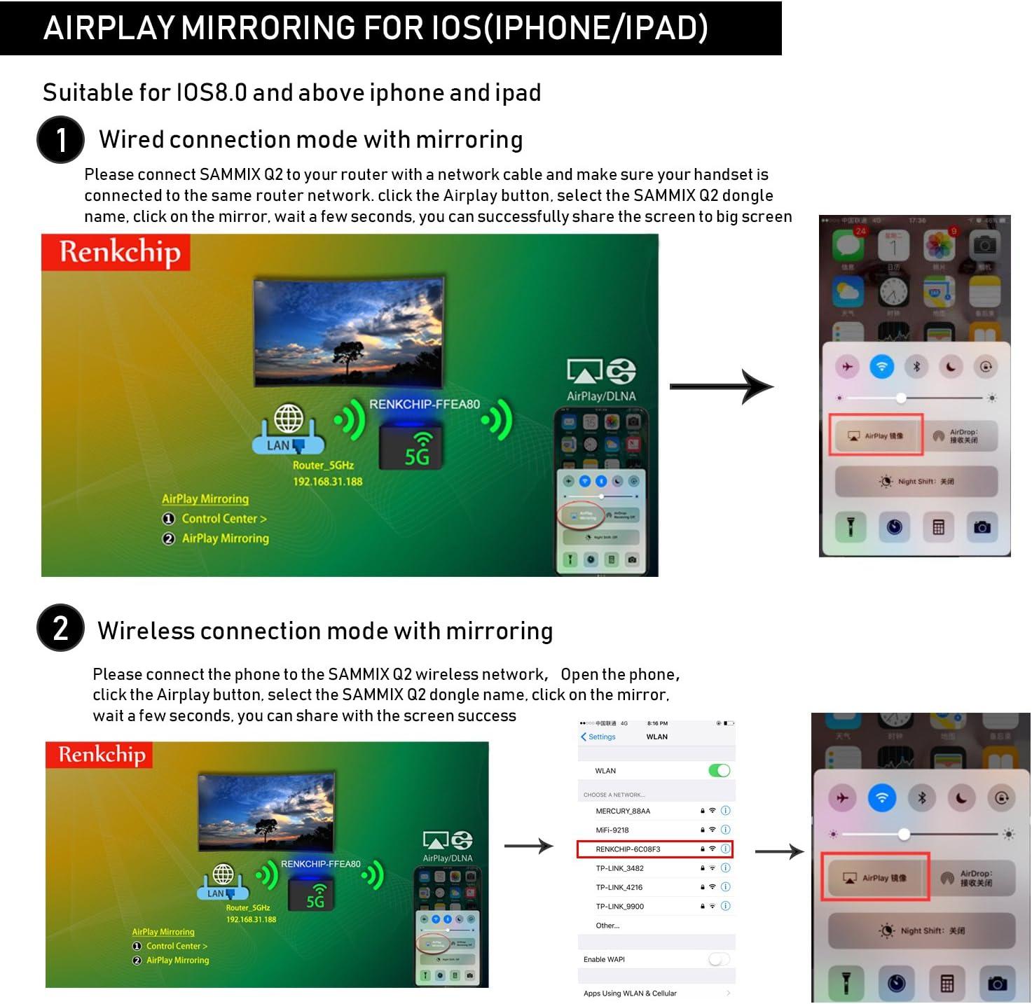 Amazon.com: sammix WiFi visualización Dongle Muti-pantalla ...
