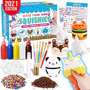 Insnug Squishy Crafty Gifts for Kids - Paint Your Own Squishy Stress Relief Toys Gifts DIY Kits Cute Food Rainbow Unicorn Arts Supplies and Crafts for Adults Lovers Ages 4 6 810 12Year Old Girls Boys