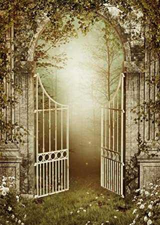 Vintage Photo Background Old Garden Gate With Ivy Roses Fairy Scene  Photography Booth Backdrops For Studio
