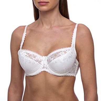 a64fbc34c4 frugue Women s Full Coverage Minimizer Plus Size Underwire Padded Bra Ivory  34 DDD E