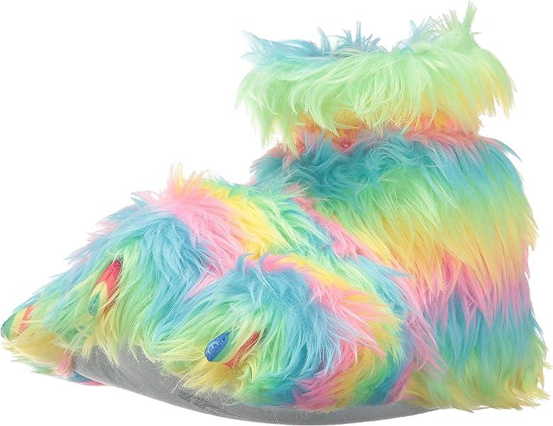 84f1496f7 Trimfit Girls Rainbow Plush Fuzzy Paw Slippers Moccasin 9/10 M US Toddler