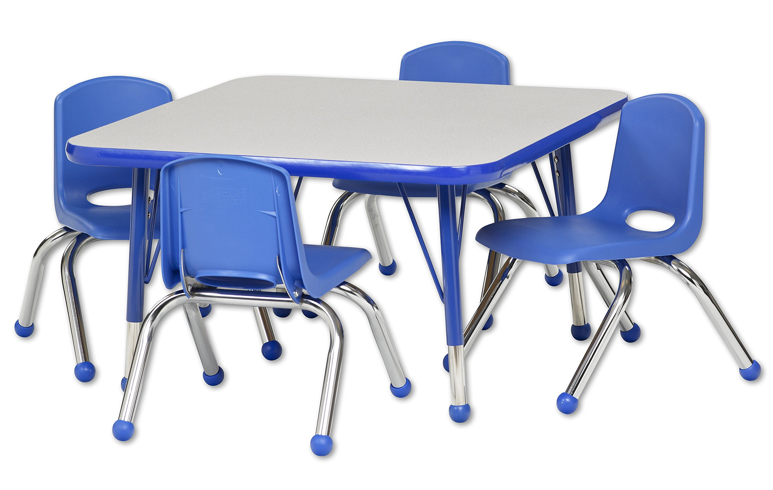 ECR4Kids 30'' Square Activity Table, Gray Top/Blue Edge, Toddler Legs/Ball Glides, Four 10'' Blue School Stack Chairs
