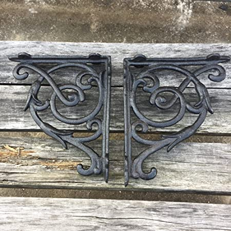 Olymstore Pack of 4 Cast Iron Antique Style Brackets Garden DecorationBraces Rustic Shelf Bracket Hangers 2#