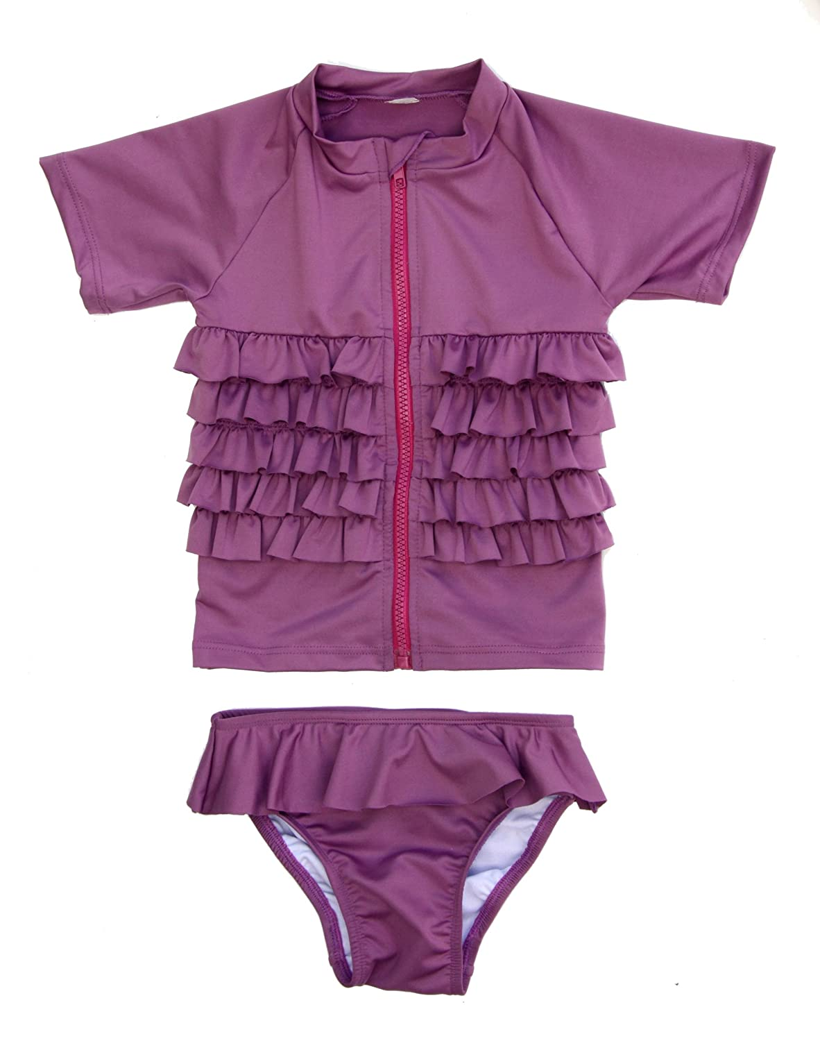 Ruffle Me Pretty - UV Sun Protective Rash Guard Swimsuit Set by SwimZip Swimwear