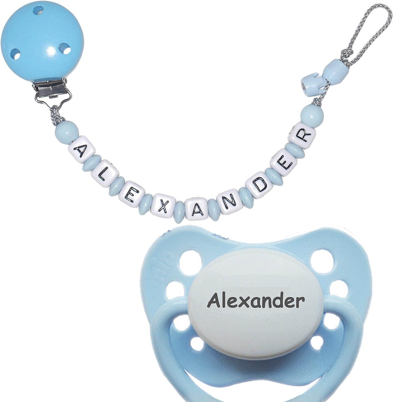 schnullir escaneado koder Cadena para chupete con nombres, Max. 10 De Caracteres (Niño/Niña) + 1 Chupete con nombres (6 – 18 meses) azul claro: Amazon.es: Bebé