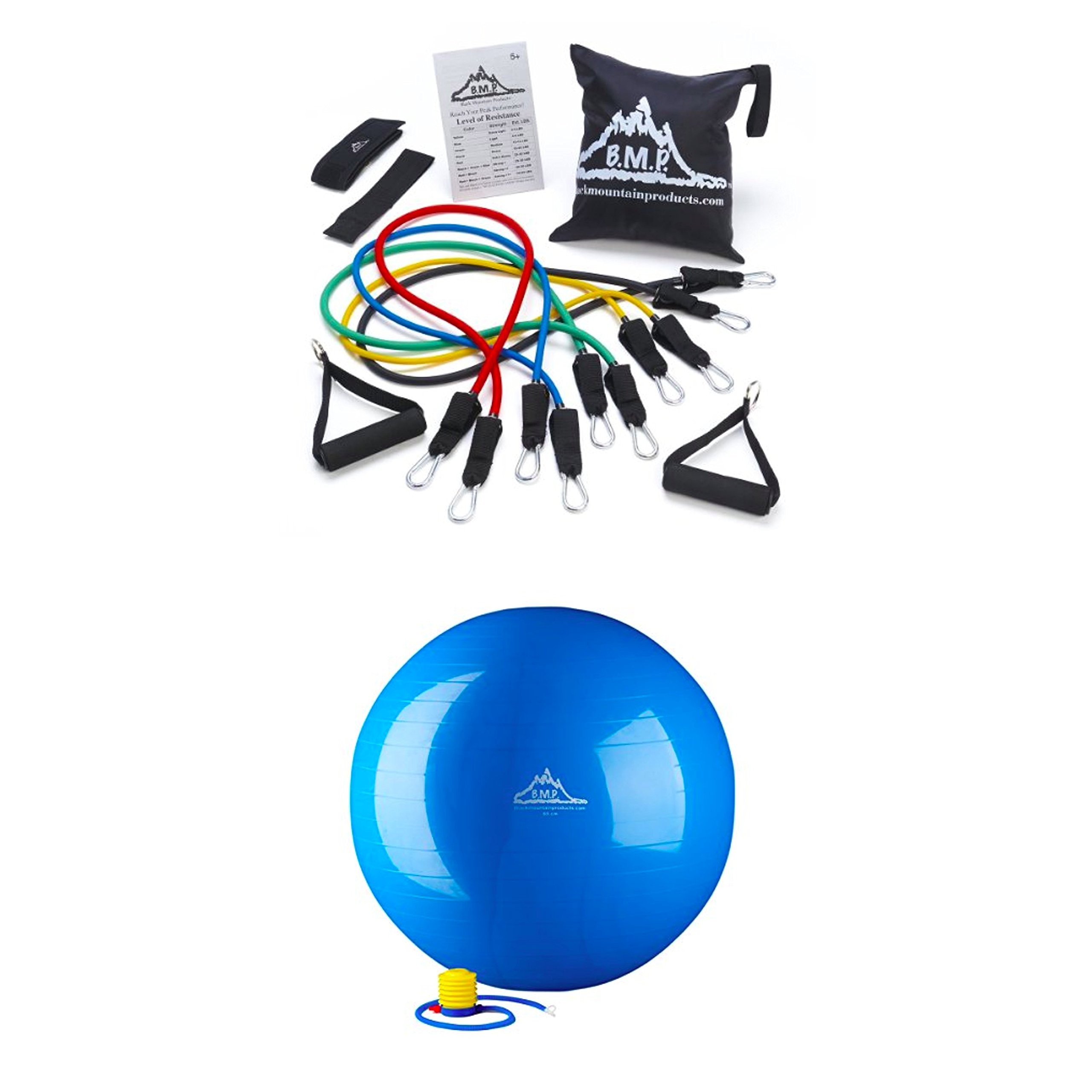 Bundle Includes 2 Items - Black Mountain Products Resistance Band Set with Door Anchor, Ankle Strap, Exercise Chart, and Resistance Band and Black Mountain Products Static Strength Exercise Stability