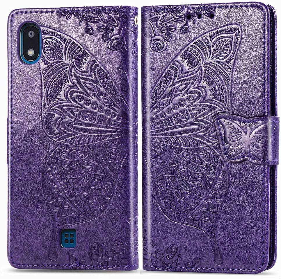 LEECOCO LG K20 2019 Case Premium PU Leather Flip Wallet Case Butterfly Embossed Full Body Protection Flip Stand Card Holder Magnetic Cover for LG K20 2019 Big Butterfly Blue SD