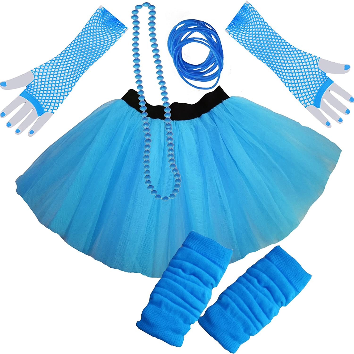 Ladies NEON TUTU SKIRT LEGWARMERS GLOVES 5 piece set (UK 8-14, TURQUOISE )