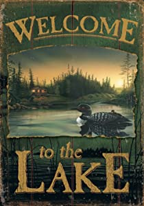 Toland Home Garden Loon Lake Welcome 28 x 40 Inch Decorative Rustic Fence Outdoors Bird Scene House Flag