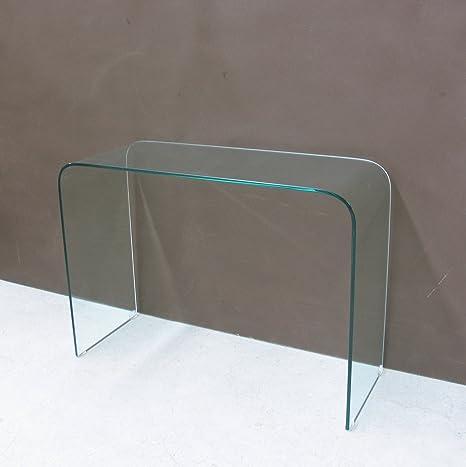 Consolle cristallo curvato design cm 110 x 40 x 80: Amazon ...