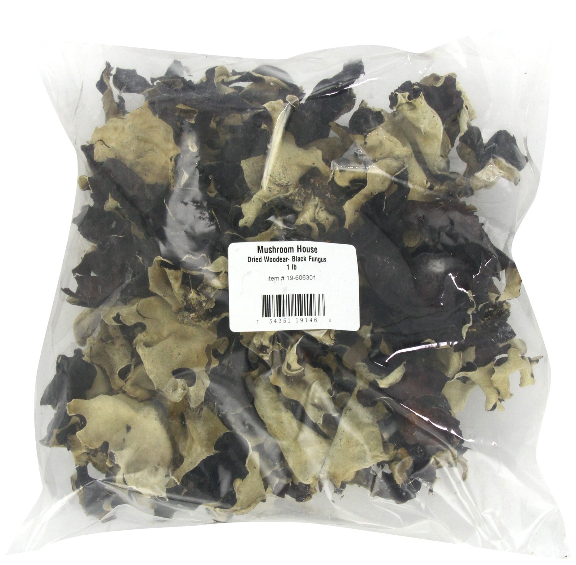 Mushroom House Dried Woodear Mushroom, Black Fungus, 1 Pound
