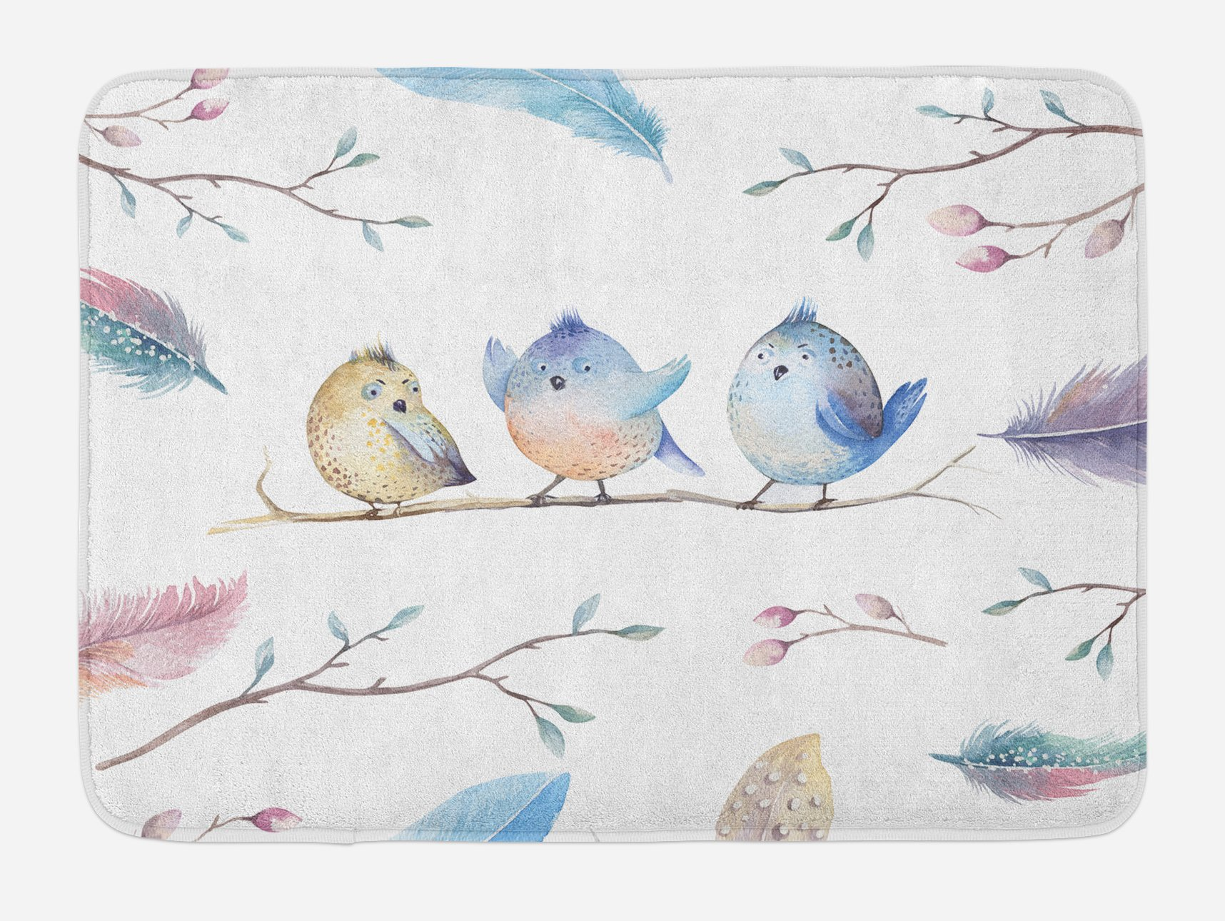 Lunarable Animal Bath Mat, Hand Drawn Birds Sitting on Branch Cartoon in Boho Style Watercolors Leaves Feathers, Plush Bathroom Decor Mat with Non Slip Backing, 29.5 W X 17.5 W Inches, Multicolor