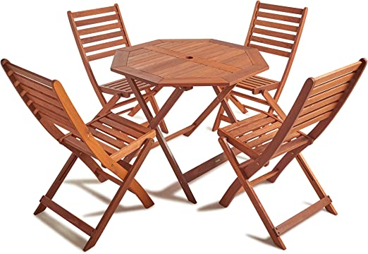 Wido 4 SEATER WOODEN FURNITURE SET OUTDOOR PATIO DINING FOLDING TABLE /& CHAIRS