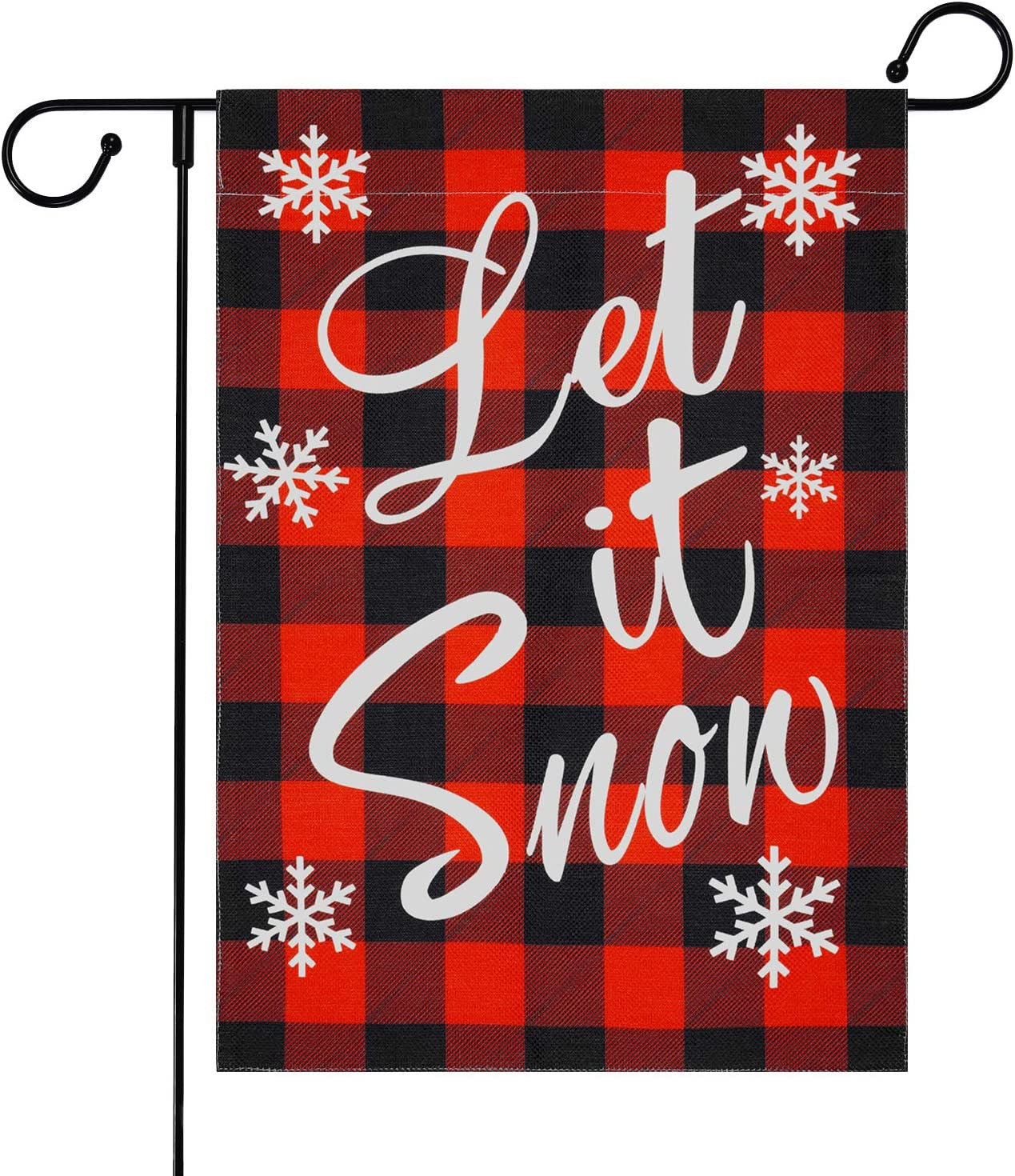 Red Buffalo Plaid Garden Flag, Snowflake Garden Flags with Free Anti-Wind Clip, Let It Snow Yard Flags, Decorative House Flags for Outside, Winter Garden Flags Burlap Double Sided, 12.5 x 18 inches