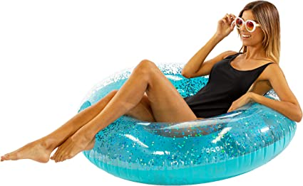 Transparent Glitter Tube Inflatable Swimming Pool Float Raft Ring Gold Silver UK