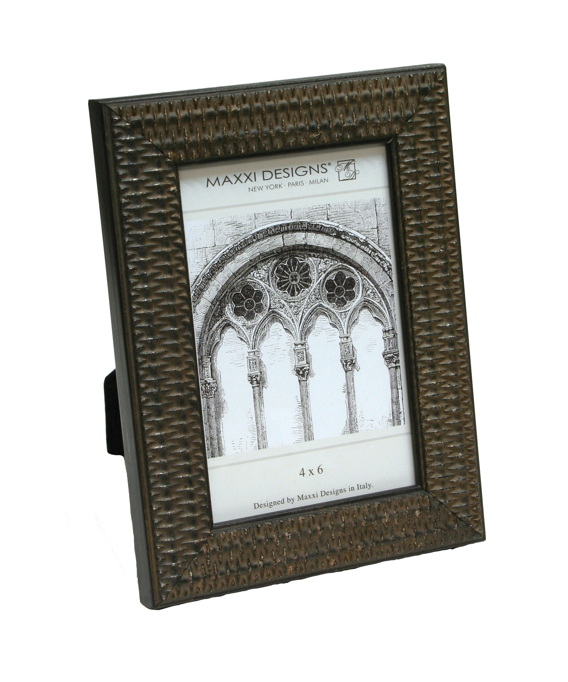 Maxxi Designs Arezzo Photo Frame 4'' x 6'' Antique Black with Rattan Pattern