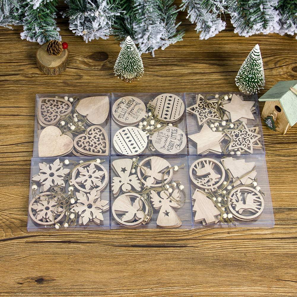 Packs de 12 adornos de madera para #Navidad por sólo 2,39€