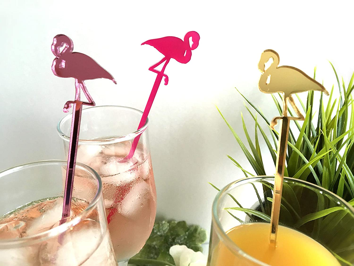 New Party Time Plastic Flamingo Cocktail Stirrers Pk 6 Assorted Colours