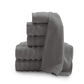 Baltic Lino Company Pure Elegance 100% algodón Turco 6 Piezas Toalla de Lujo Set, Gris Oscuro, 1: Amazon.es: Hogar