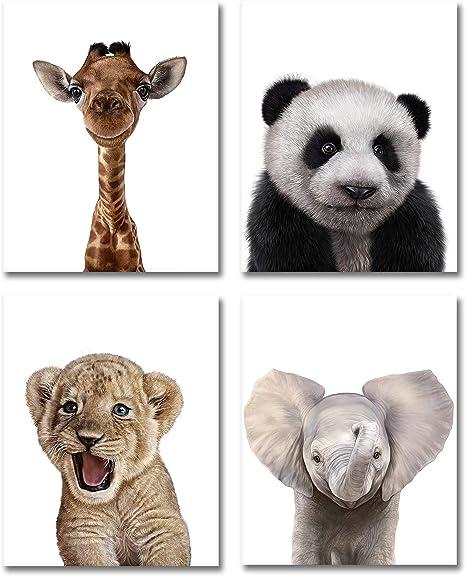 Giraffe Baby Shower Gift Lion Zebra Elephant Safari Animals Personalized Baby Girl Nursery Framed Canvas Art Print Hippo Daughter