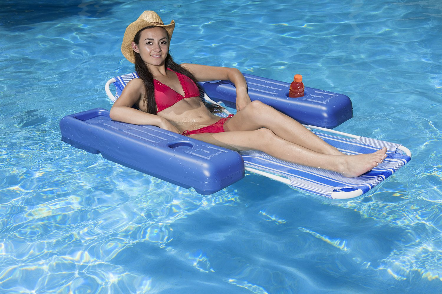 Poolmaster Swimming Pool Floating Chaise Lounge, Caribbean, Blue Stripe