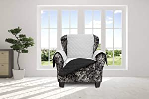 Quick Fit Reynold Reversible Furniture Cover Protector Slipcover, Loveseat, Silver-Black