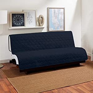 SureFit Furniture Cover-3-In-1 – Waterproof – Reversible – Armless – 100% Polyester – Machine Washable, Navy/Cream