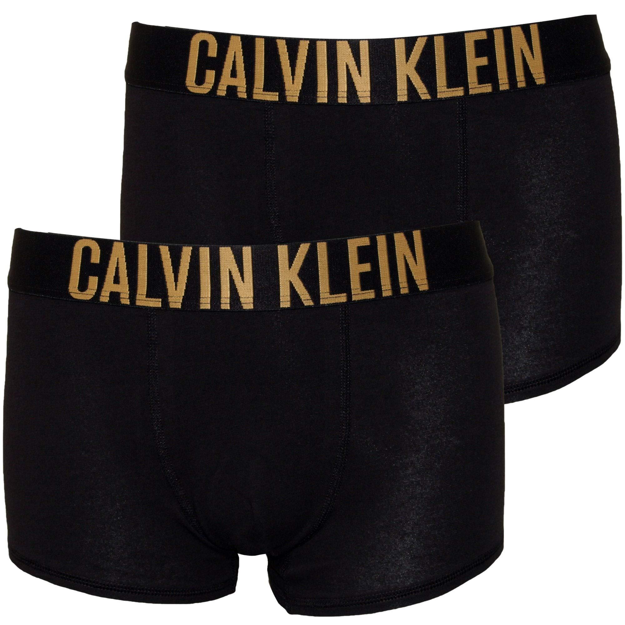 Calvin Klein Boy's 2-Pack Bold Logo Boys Boxer Trunks, Black/Gold Age 8-10 Black/Gold