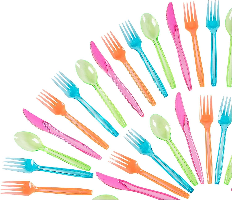 Juvale Cubiertos plásticos Set - 216-party Pack desechable Cubiertos en Colores de neón, para Trabajo Pesado de Color Utensilios, Incluye 54 cucharas, Tenedores, 54 108 Cuchillos