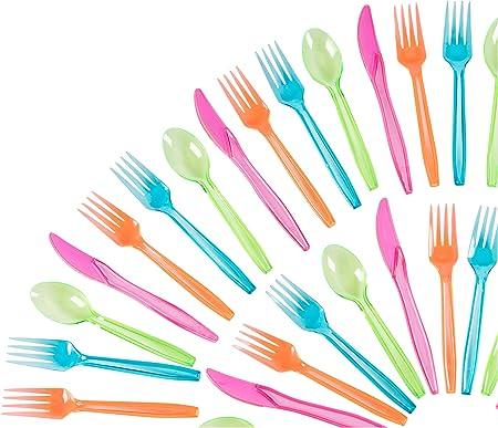 Juvale Cubiertos plásticos Set - 216-party Pack desechable Cubiertos en Colores de neón, para Trabajo Pesado de Color Utensilios, Incluye 54 cucharas, Tenedores, 54 108 Cuchillos: Amazon.es: Hogar