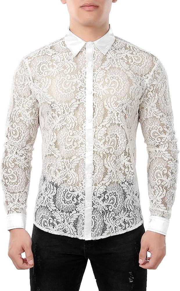 Jogal - Camisa de manga larga para hombre, diseño de flores, transparente Peine para grifo. XXL: Amazon.es: Ropa y accesorios