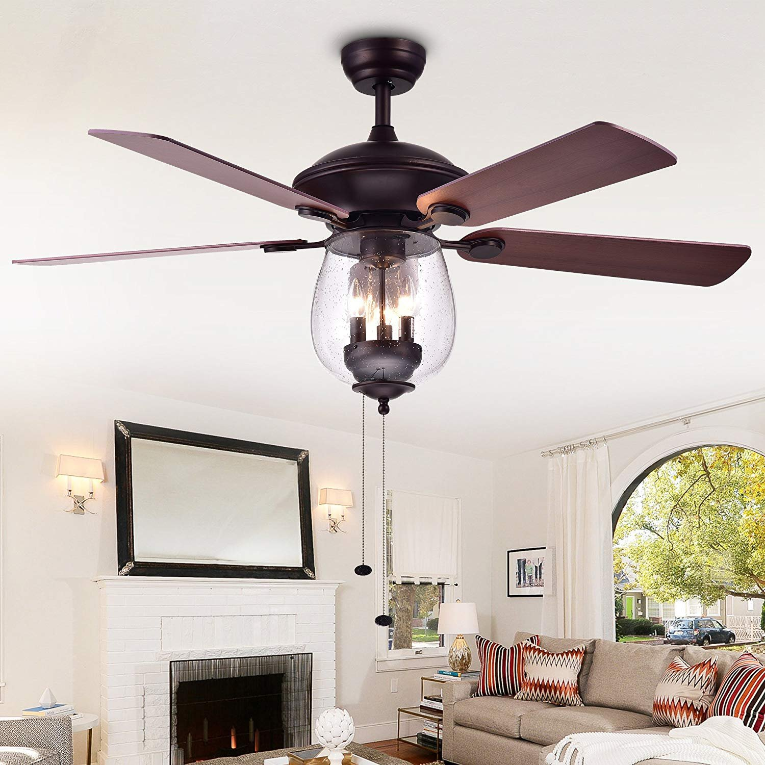 52 Ceiling Fan with Light Glass Bowl Ceiling Light Retro Metal Pendant Lighting Chandelier