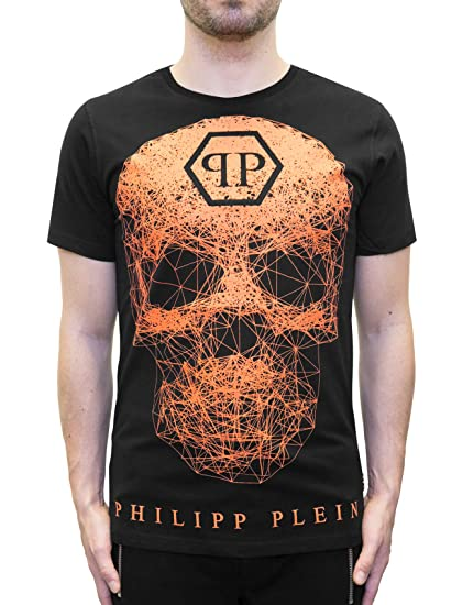 19111bb5 Philipp Plein - Weezer - T-Shirt with Graphic neon Orange Skull (S):  Amazon.co.uk: Clothing