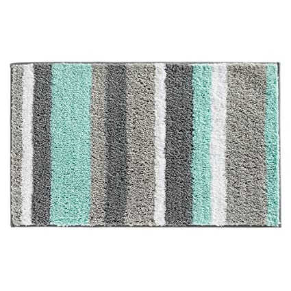 InterDesign Stripz Microfiber Bath Rug, 34 X 21 Inch, Mint/Gray