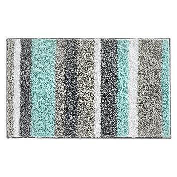 Superior InterDesign Stripz Microfiber Bath Rug, 34 X 21 Inch, Mint/Gray