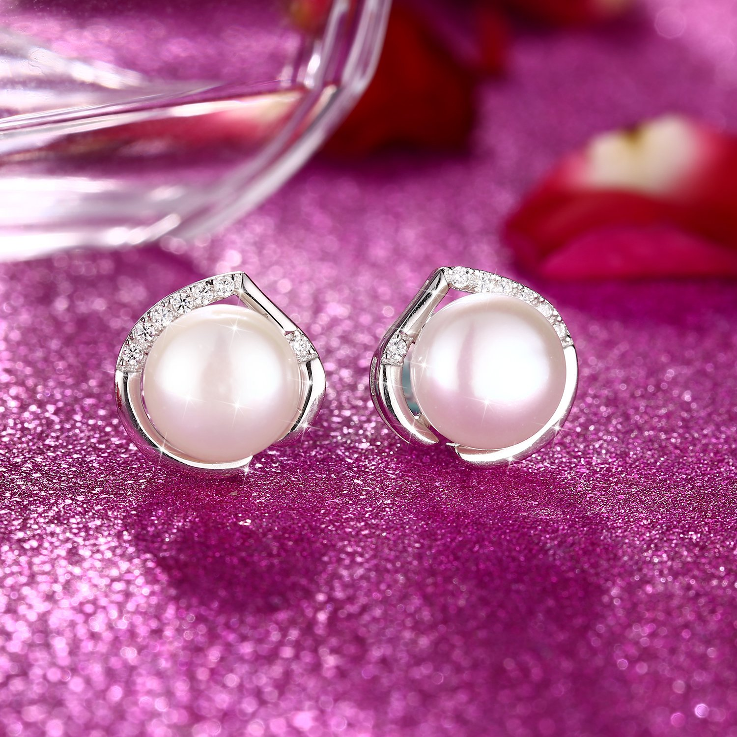 J.Rosée Freshwater Cultured Pearl Earrings, Stud Earrings with 925 Sterling Silver and 5A Cubic Zirconia, Jewelry Gifts for Women Girls by J.Rosée (Image #3)