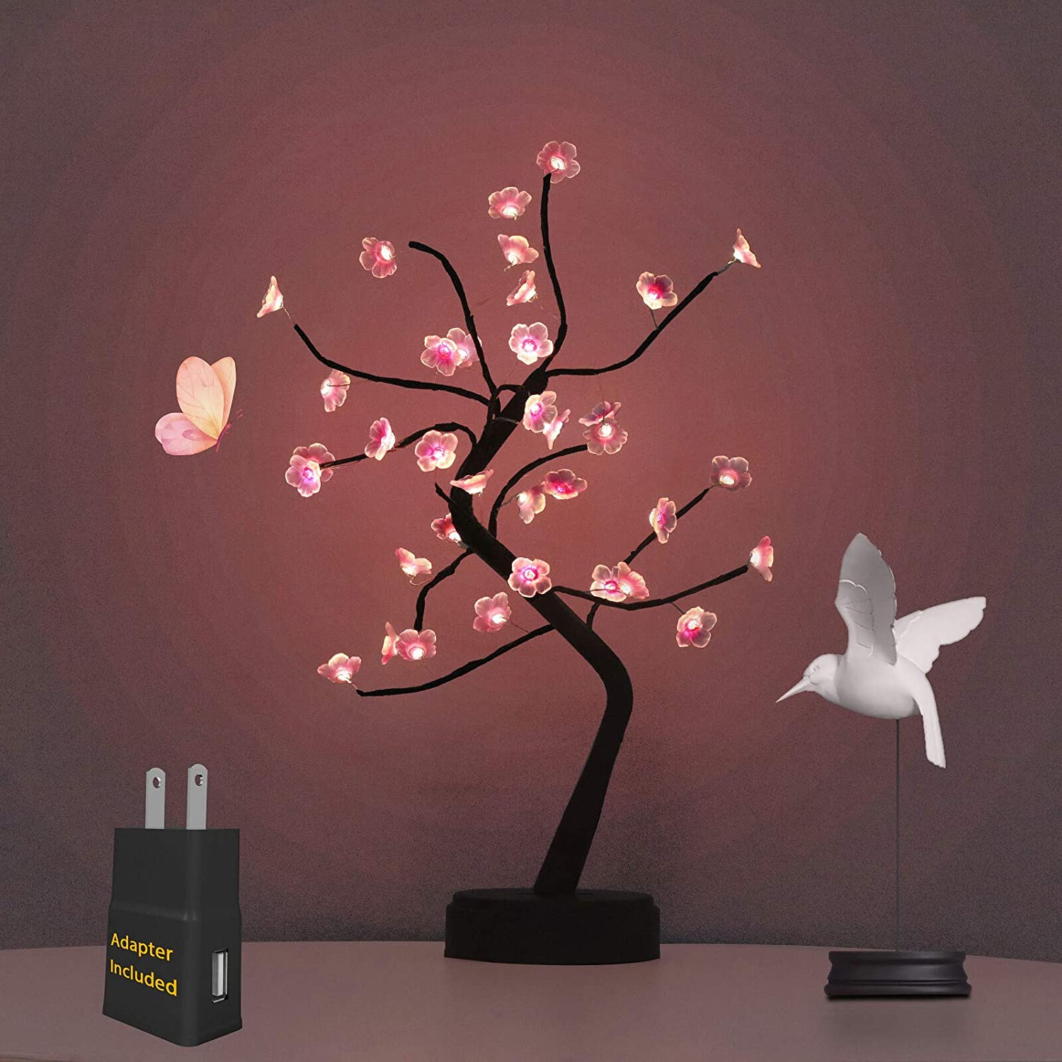 Bonsai Tree Light with Adapter Included, Tree Lamps for Living Room, Cute Night Light for House Decor, Good for Gifts, Home Decorations, Weddings, Christmas and More (Pink Cherry Blossom, 36 LED)