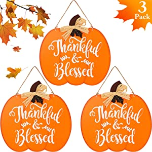 3 Pieces Fall Hanging Sign Pumpkin Door Decor Pumpkin Hanging Sign Wood Pumpkin Sign for Thanksgiving Day Autumn Festival Home Office Decoration