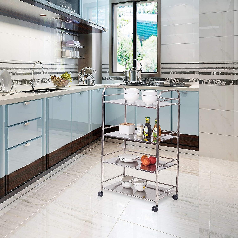 WOLTU RW007M3 Carrello da Cucina in Metallo con Ruote Scaffale a 3 Ripiani Scaffalature per Microonde Fioriera Salvaspazio