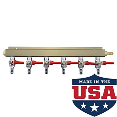 The Weekend Brewer 6-way 5/16  Barb CO2 Distributor Manifold with integrated check valves