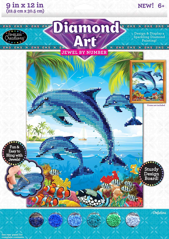 Cra-Z-Art Timeless Creations Diamond Art Jewel by # Dolphins 9 X 12