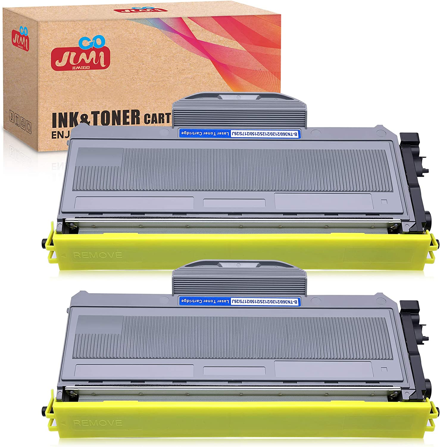High Yield JinHan TN-360 TN-330 Toner Cartridge Compatible for Brother TN-360 TN360 TN-330 TN330 HL-2140 DCP-7030 DCP-7040 2 Black MFC-7440N Work with Brother HL-2170W MFC-7340 MFC-7840W